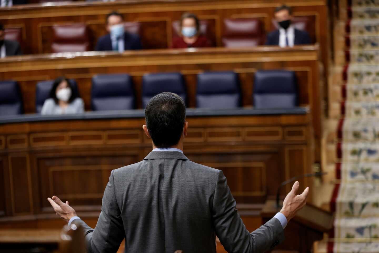 Pedro Sánchez en la sesión de control al Gobierno en el Congreso.