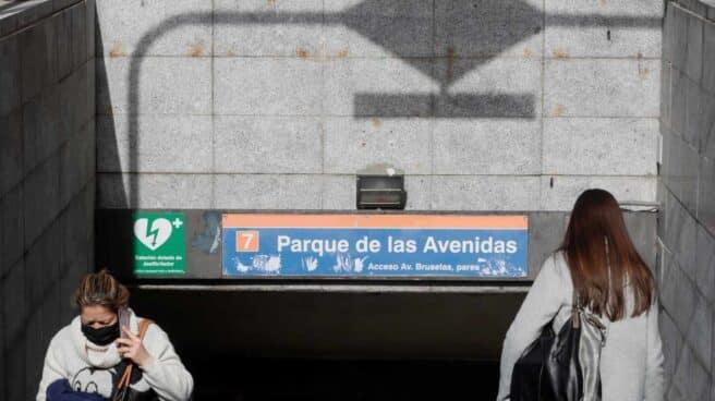 Estación de metro de Parque de las Avenidas, donde la Comunidad de Madrid ha levantado restricciones de movilidad.