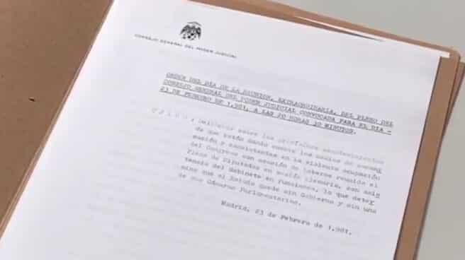 Acta original de la sesión del CGPJ del 23 de febrero de 1981