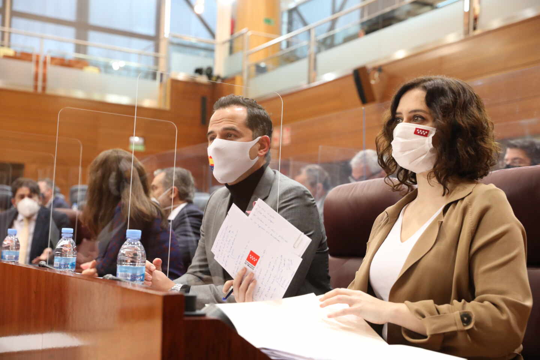 Ignacio Aguado e Isabel Díaz Ayuso, en la Asamblea de Madrid.