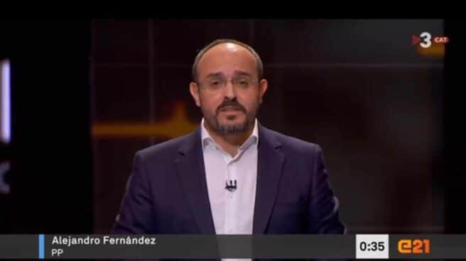 Alejandro Fernández, durante su intervención en el debate de TV3