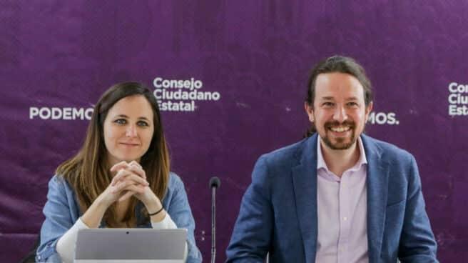 Ione Belarra y Pablo Iglesias, en el Consejo de Podemos.