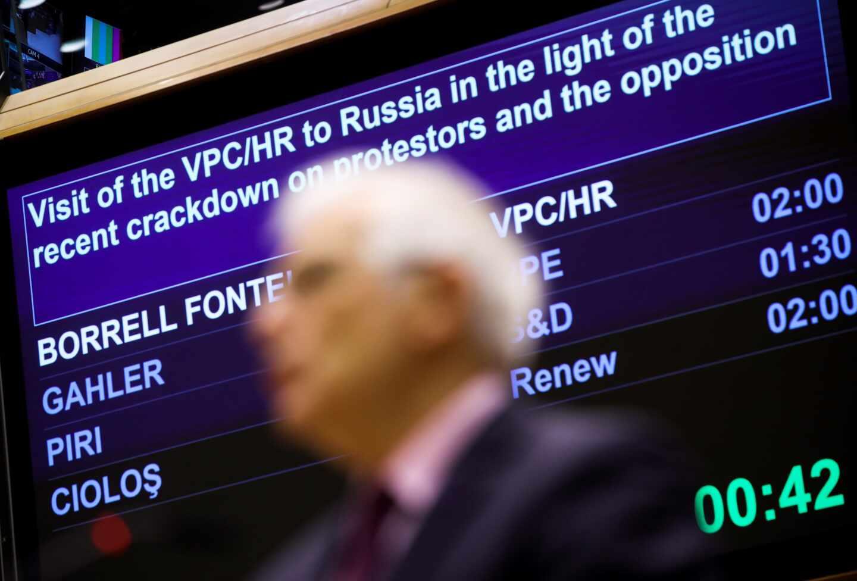 Josep Borrell, jefe de la diplomacia europea, comparece ante los eurodiputados en Bruselas para hablar de las relaciones con Rusia