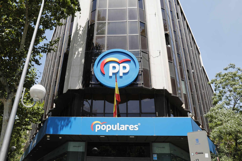 Edificio de la sede del PP, situado en la calle Génova, en Madrid (España)