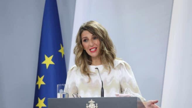 La ministra Trabajo y Economía Social, Yolanda Díaz, comparece en rueda de prensa posterior al Consejo de Ministro celebrado en Moncloa