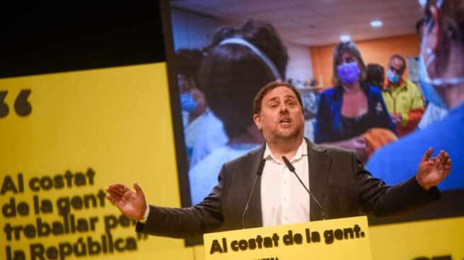 Oriol Junqueras, durante un mitin de la campaña a las elecciones del 14F
