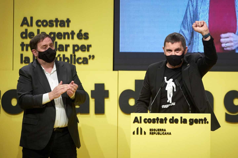 Elecciones Cataluña: mitin de ERC con Junqueras y Otegi.