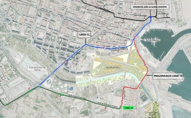 Plano de la ampliación de las líneas 10 y 11 del tranvía de Valencia