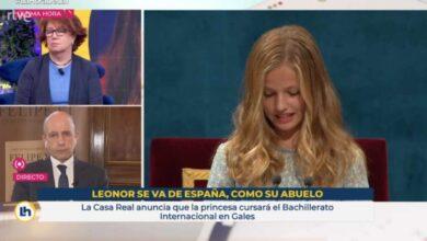 """El rótulo de TVE que desata la polémica: """"Leonor se va de España, como su abuelo"""""""