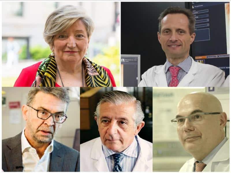 De izquierda a derecha, Dra. Lluch; Dr. García-Foncillas, Dr. Rosell, Dr. Hornedo y Dr. Tabernero