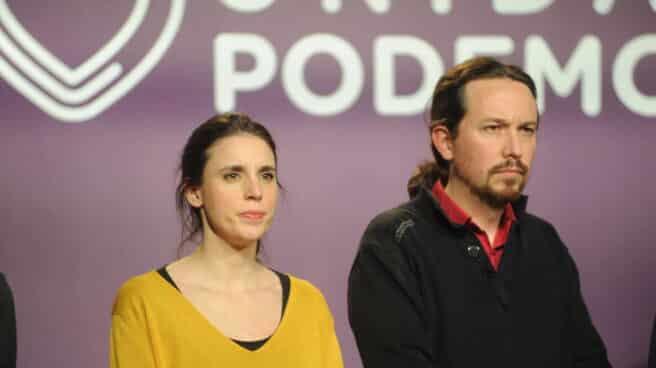 Irene Montero y Pablo Iglesias, en la sede de Podemos.