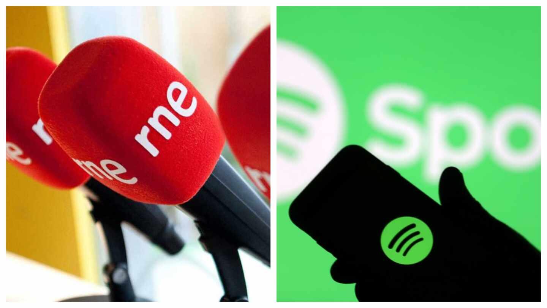Un micro de Radio Nacional y un móvil con la app de Spotify