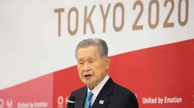 Yoshiro Mori, durante la rueda de prensa en la que ha anunciado su renuncia como presidente del Comité Organizador de Tokio 2020