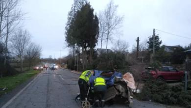 Rescatado el ocupante de un camión que se salió de la vía tras engancharse en un cable