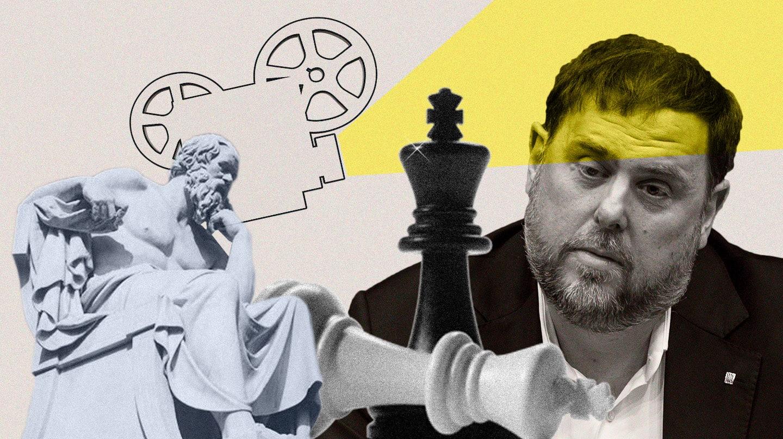 Montaje de Junqueras con los elementos de entretenimiento que emplea en la carcel: diálogos socráticos, cine y ajedrez