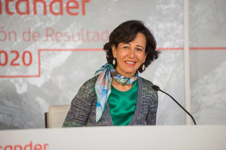Ana Botín, presidenta de Santander, durante la presentación de resultados de 2020.
