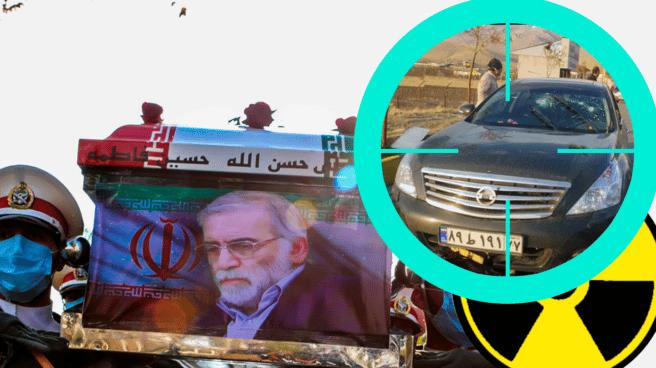Imagen de Mohsen Fakhrizadeh en su entierro con un detalle de la escena del crimen