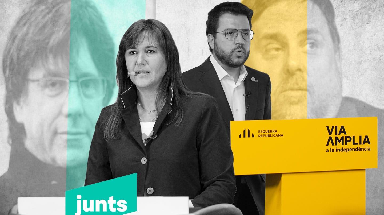 Imagen de Laura Borrás, candidata de Junts con Puigdemont a la sombra y Pere Aragonès, candidato de ERC con la sombra de Junqueras