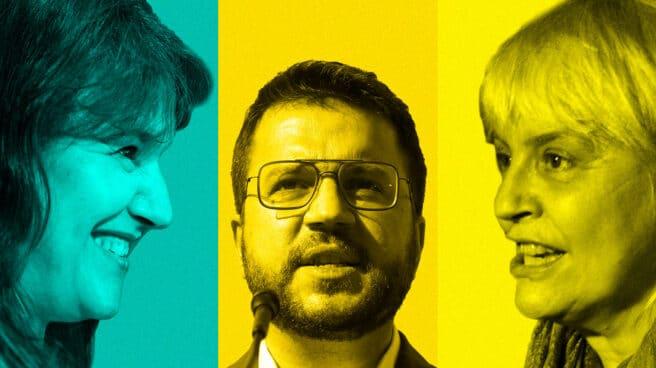 Imagen de Laura Borrás (JxCat), Pere Aragonès (ERC) Y Dolors Sabater (CUP)