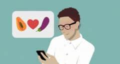 Imagen de un chico ligando con una app de la que sale un bocadillo con una papaya, un corazón y una berenjena