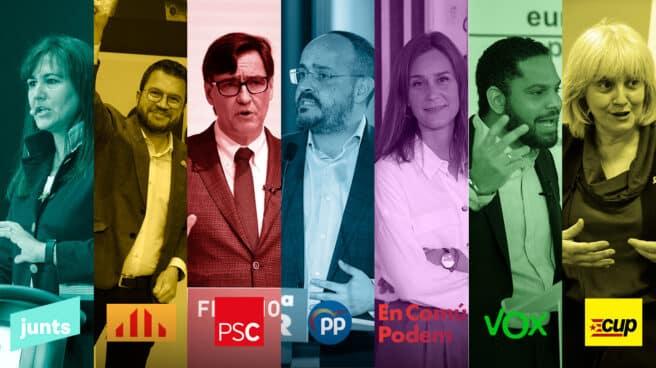 Imagen de los candidatos a las elecciones catalanas. De izquierda a derecha: Laura Borràs (Junts), Pere Aragonès (ERC), Salvador Illa (PSC), Alejandro Fernández (PP), Jéssica Albiach (En Comú), Ignacio Garriga (Vox) y Dolors Sabater (CUP)