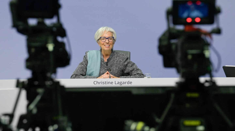 La presidenta del BCE, Christine Lagarde, en una rueda de prensa.