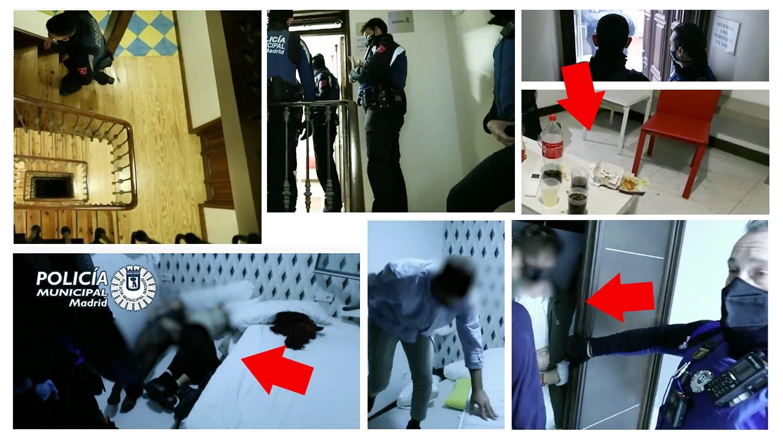 Imagen fotogramas de una redada de una fiesta ilegal en Madrid de un video de la Policía Municipal de Madrid