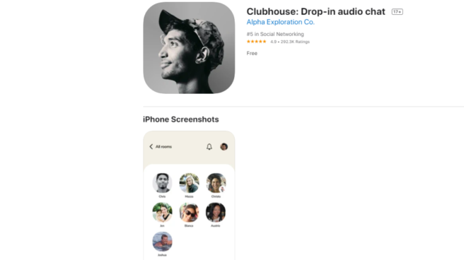 Captura de pantalla de la aplicación Clubhouse