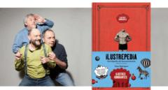 Javier Coronas, Javier Cansado y Pepe Colubi junto al libro Ilustrepedia.