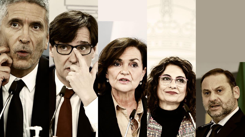 De izquierda a derecha, Grande-Marlaska (Interior), Salvador Illa (hoy ex ministro de Sanidad), Carmen Calvo (Presidencia), María Jesús Montero (Hacienda) y José Luis Ábalos (Transportes).