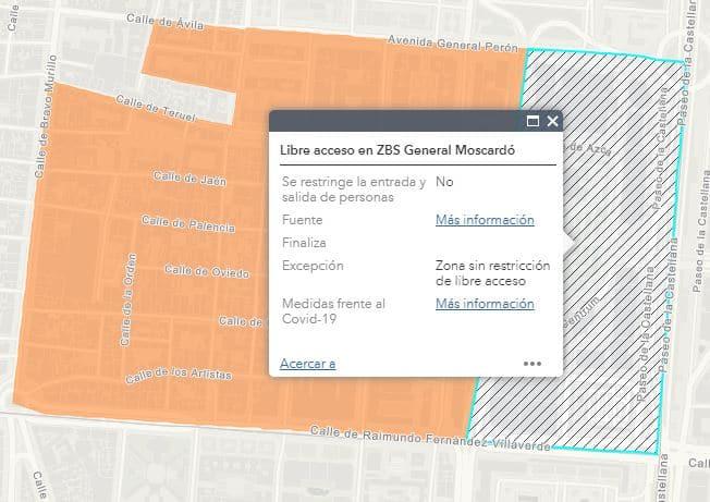 Captura de pantalla de un área comercial de libre acceso en una zona básica de salud (ZBS) cuya movilidad está restringida.