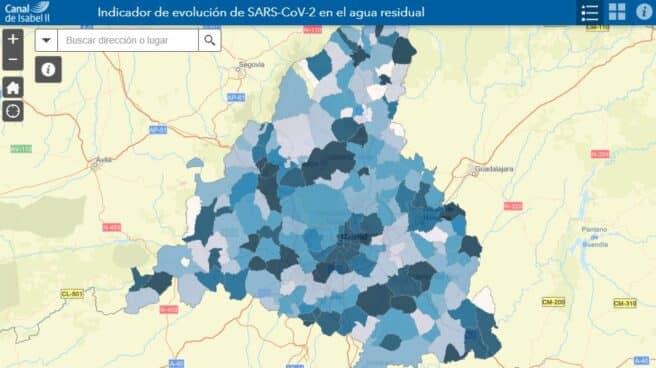 Mapa de análisis de riesgo en función de la presencia de coronavirus en las aguas residuales de Madrid.