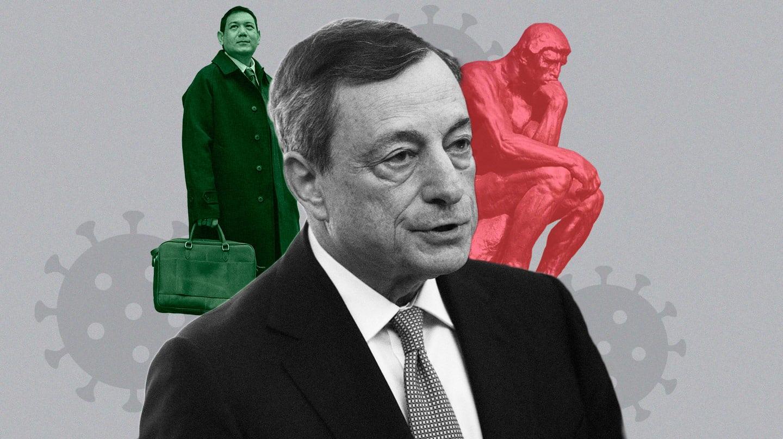 Imagen de Mario Draghi con dos supuestos tecnócratas, un pensador y un banquero para formar gobierno en Italia