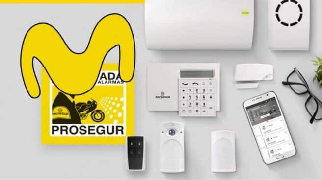 Imagen de los dispositivos que ofrece Movistar Prosegur Alarmas