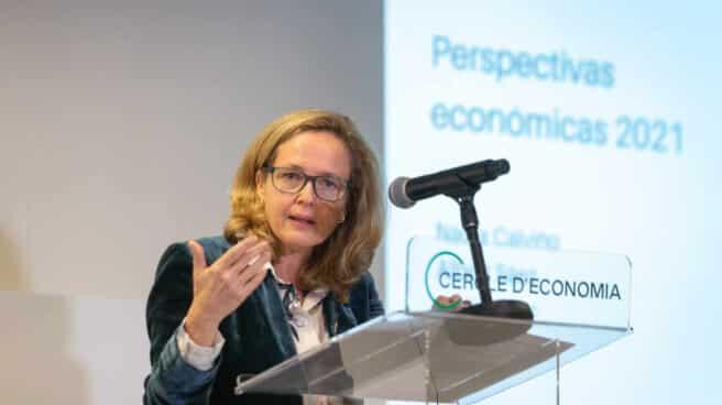 a ministra de Asuntos Económicos y Transformación Digital, Nadia Calviño interviene en el Cercle d'Economia, en Barcelona,