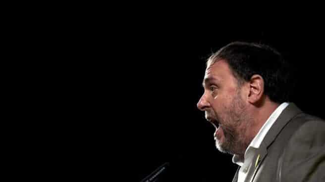 Oriol Junqueras, en un mitin tras salir de prisión.