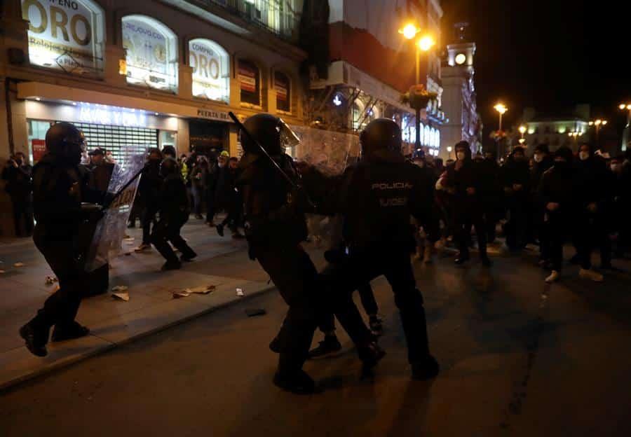 Disturbios en Sol en una manifestación a favor de Pablo Hasel.