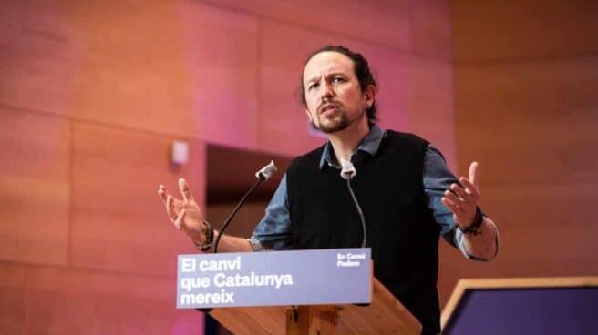 Elecciones Cataluña: Pablo Iglesias, en un mitin.