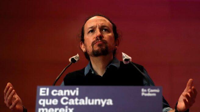 Pablo Iglesias, durante un mitin de campaña en Cataluña.
