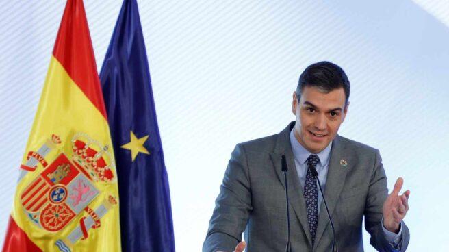 El presidente del Gobierno, Pedro Sánchez interviene en el acto de firma del Protocolo sobre Alquiler Social de Viviendas, hoy en el Palacio de la Moncloa.