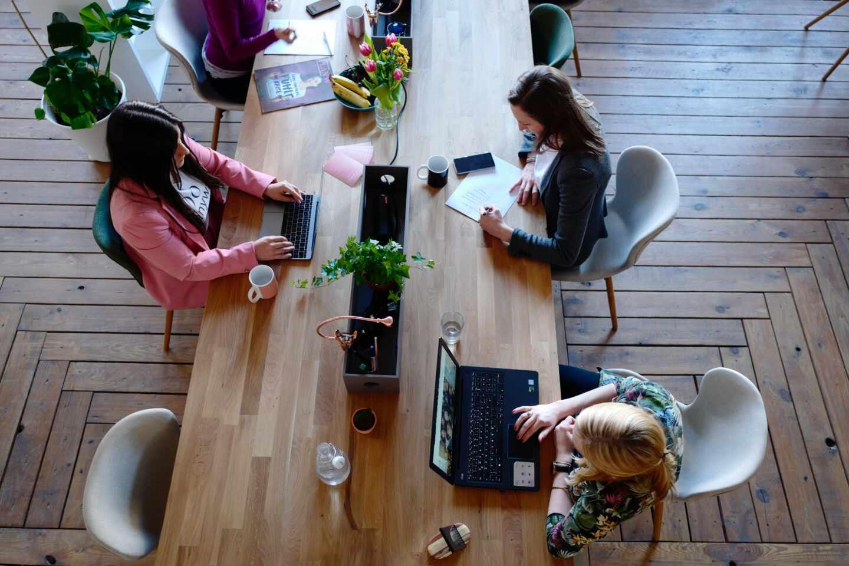 Varias mujeres trabajan delante de sus ordenadores.