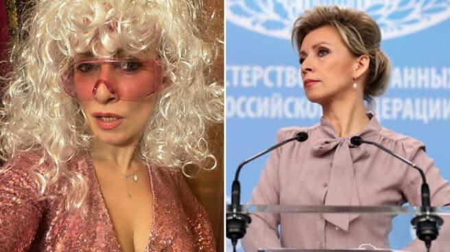 Imagen de la portavoz de exteriores rusa, María Zajarova, en la que se comprara una imagen de su carrera política con una de su vida personal en Instagram