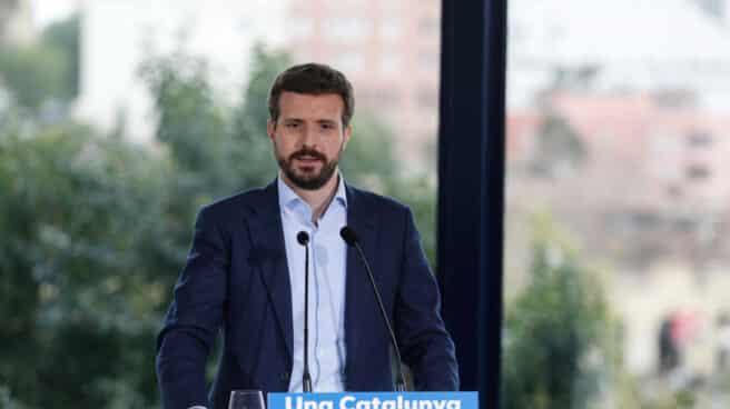 El presidente del PP, Pablo Casado, durante un acto de campaña tras el escándalo de la declaración de Bárcenas