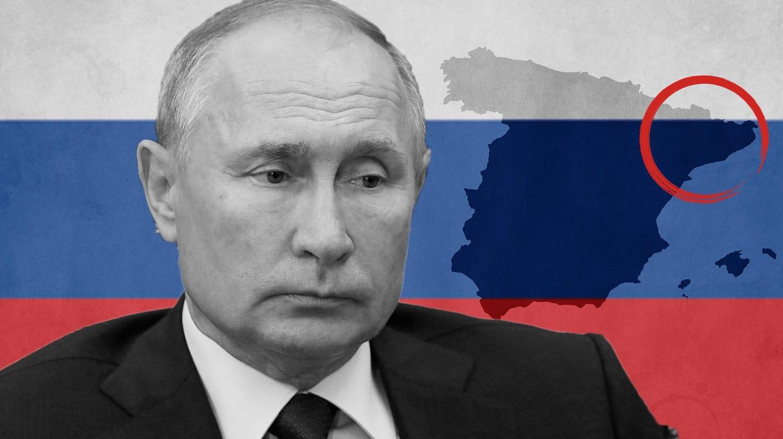 Imagen de Vladímir Putin con la bandera de Rusia de fondo y el mapa de España con Cataluña señalado