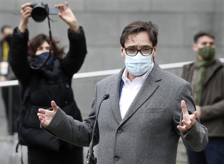 Salvador Illa, tras votar en las elecciones de Cataluña del 14-F.
