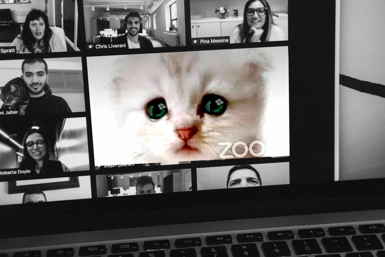 Imagen de un ordenador con una reunión en Zoom.