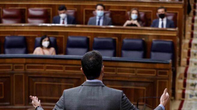 El presidente del Gobierno, Pedro Sánchez durante la sesión de control al Gobierno este miércoles en el Congreso.