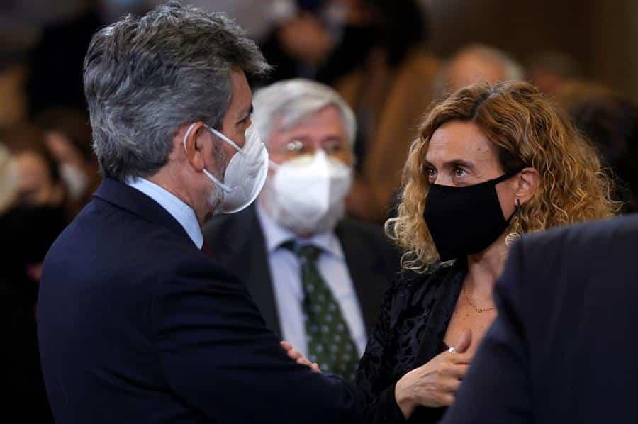 La presidenta del Congreso, Meritxell Batet; y el presidente del CGPJ, Carlos Lesmes