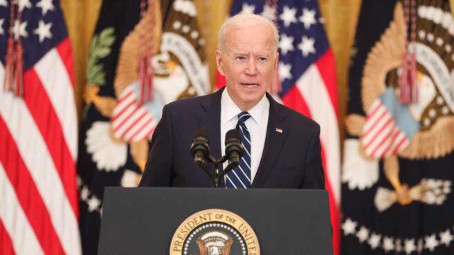 Joe Biden, en la Sala Este de la Casa Blanca, en su primera rueda de prensa