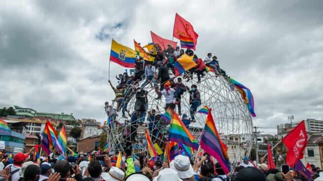 Un mitin en la primera vuelta de la campaña en Ecuador